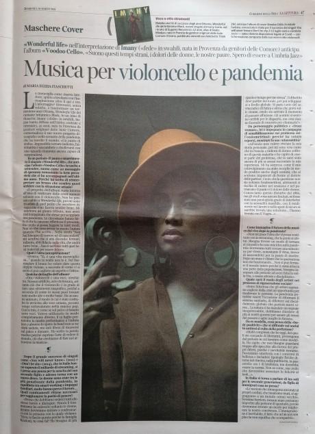 Imany su La Lettura del Corriere della Sera, domenica 28 marzo