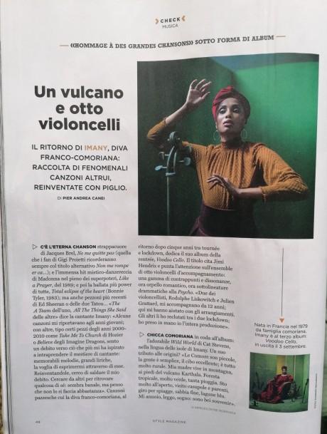 IMANY intervistata da Style Magazine, numero di Settembre