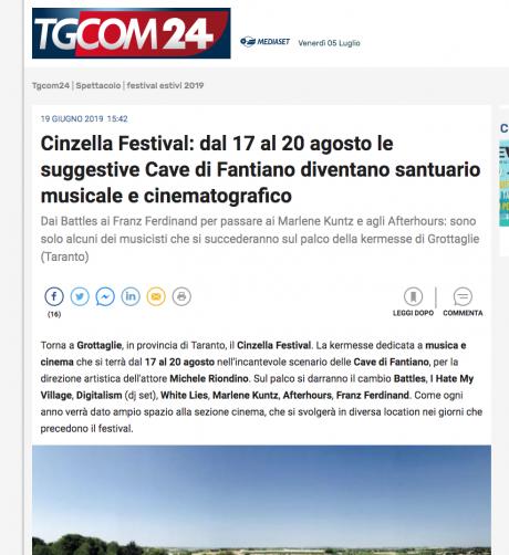 Cinzella Festival su TgCom24