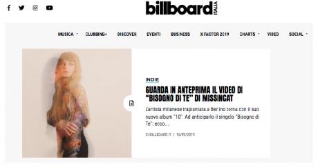 MISSINCAT, il video di Bisogno di Te in anteprima su BILLBOARD ITALIA