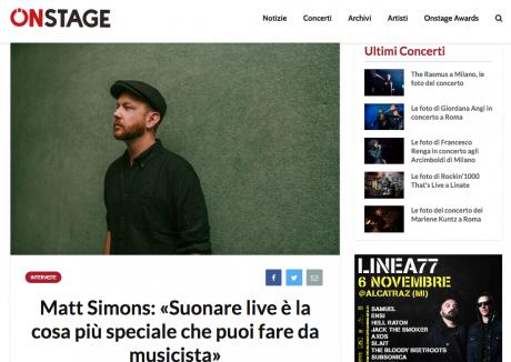 ONSTAGE ha intervistato MATT SIMONS in occasione dei due live italiani