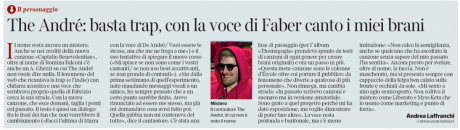 THE ANDRE' sul Corriere della Sera ediz. Nazionale – L'intervista
