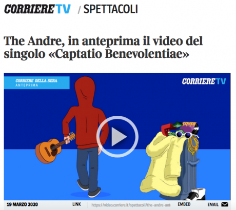 "In anteprima su CORRIERE.IT il video di The Andre, ""Captatio Benevolentiae"""