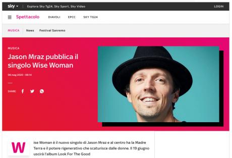 """JASON MRAZ pubblica il secondo inedito """"Wise Woman"""""""