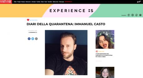 "IMMANUEL CASTO per ""I diari della quarantena"" su VANITY FAIR"