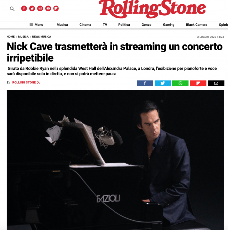 Nick Cave Alone: un concerto irripetibile, Ticket su DICE.fm. Ne parla RollingStone