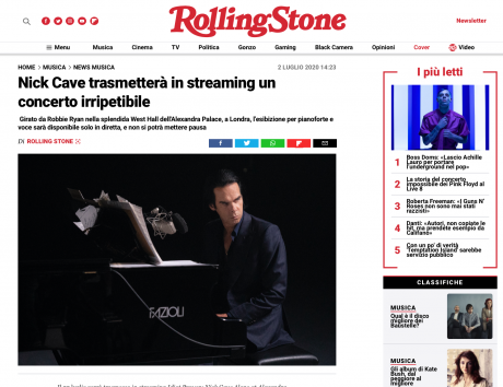 Dice.fm: Nick Cave in streaming in uno show irripetibile, su RollingStone It