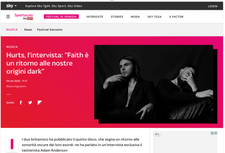 HAPPY RELEASE DAY HURTS! Leggi l'intervista su Skytg24!