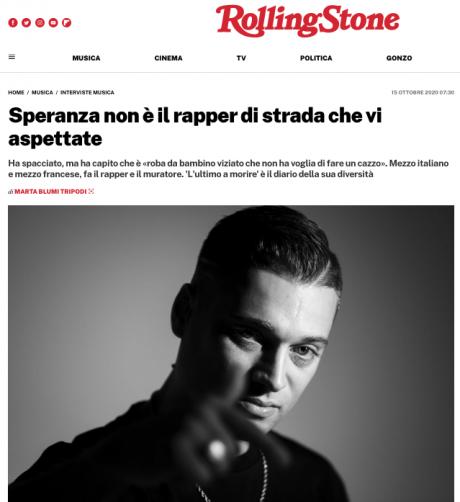 Domani esce il debut album di SPERANZA, qui intervistato da Rolling Stone Italia