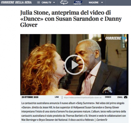 In anteprima su corriere.it il video di Dance, di Julia Stone, con Susan Sarandon e Danny Glover