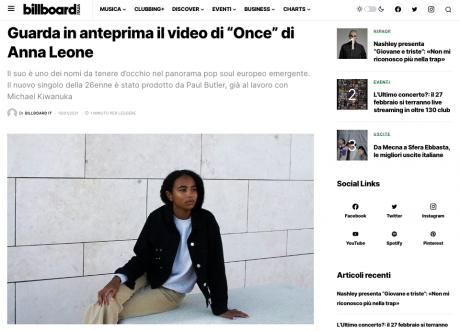 In anteprima su Billboard Italia il video di Once, inedito della talentuosa ANNA LEONE
