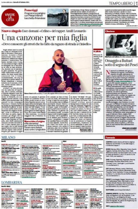 AMILL LEONARDO intervistato dal Corriere della Sera per il nuovo disco Celine, dedicato a sua figlia