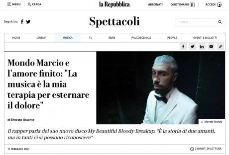 MONDO MARCIO intervistato da La Repubblica