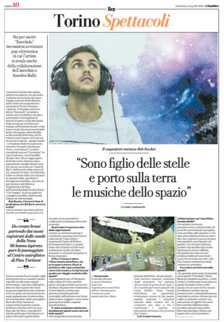 Bob Rocket intervistato da La Repubblica Torino