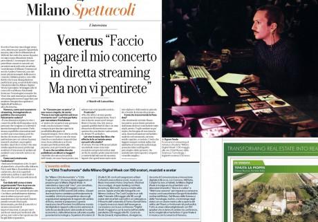 VENERUS intervistato da La Repubblica Milano per il primo concerto italiano in livestream, organizzato da Radar Concerti in collaborazione con Milan Digital Week, DICE.fm e AsianFake