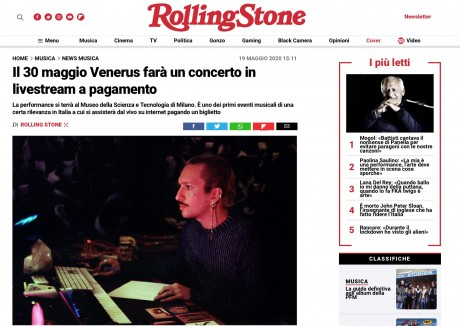 ROLLING STONE parla del primo concerto italiano in livestream, promosso da RADAR Concerti e Milano Digital Week in collaborazione con Asian Fake e DICE.fm