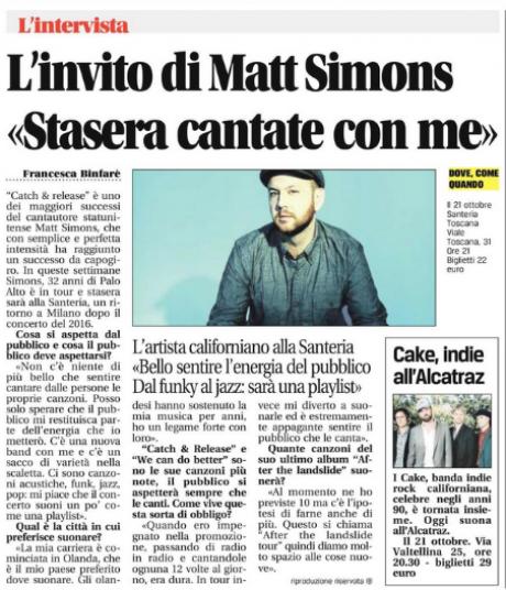 Matt Simons questa sera a Milano, in Santeria Toscana. L'intervista sul free press LEGGO
