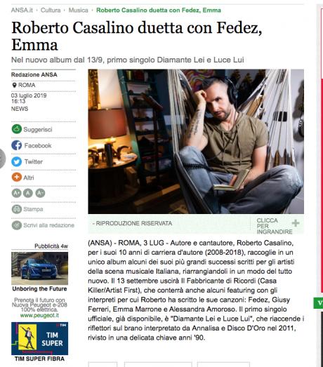 Roberto Casalino duetterà con Fedez e altri, su ANSA.IT