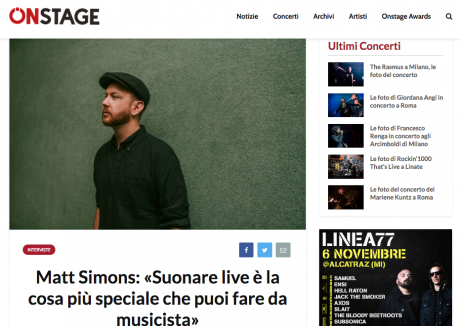 ONSTAGE ha intervistato MATT SIMONS in occasione dei due live italiani