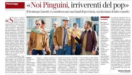 Pinguini Tattici Nucleari intervistati su Corriere della Sera nazionale