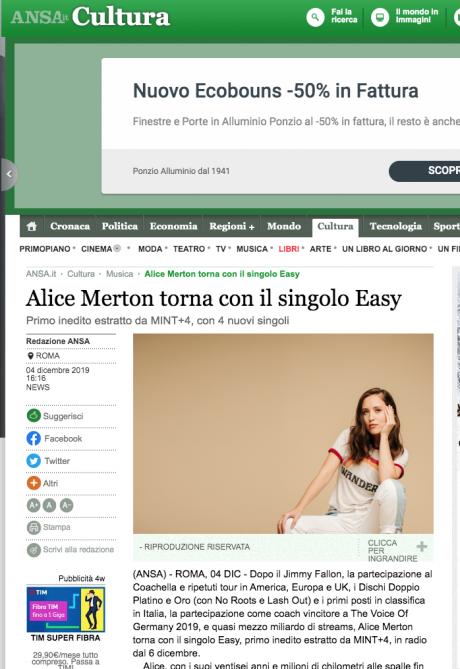 ALICE MERTON: il nuovo singolo è EASY