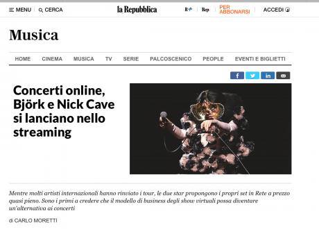 DICE.fm: Nick Cave e Bjork scelgono lo streaming. L'articolo di La Repubblica