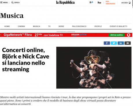 DICE: continuano i concerti in streaming, ne parla La Repubblica