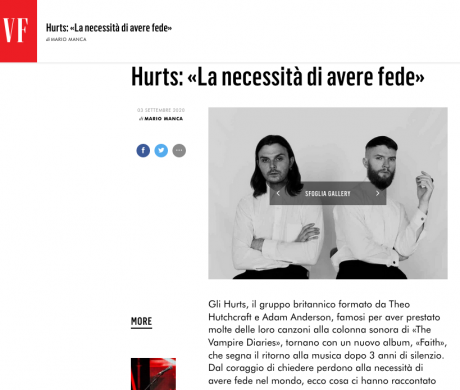 Domani, 4 settembre, esce FAITH il nuovo album del duo HURTS, qui intervistati da VANITY FAIR Italia