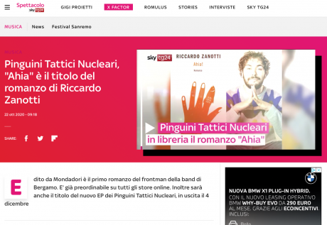 """Pinguini Tattici Nucleari, """"Ahia"""" è il titolo del romanzo di Riccardo Zanotti. Il 4 dicembre in uscita l'EP omonimo"""