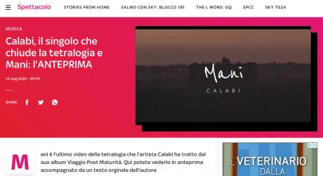 """CALABI e l'anteprima del video """"Mani"""" su SKYTG24"""