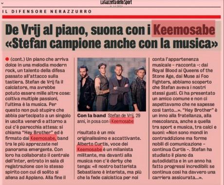 Il nuovo singolo dei Keemosabe feat. Stefan De Vrij su La Gazzetta dello Sport